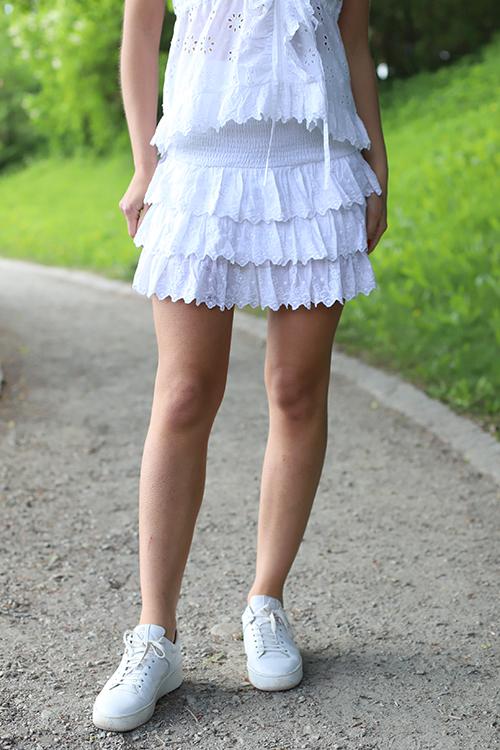 64b5f706 < > byTiMo Broderie Anglaise Mini Skirt White skjørt