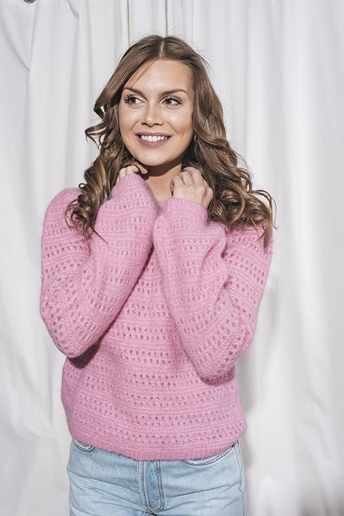 byTiMo Hairy Knit Round Neck Jumper Pink genser