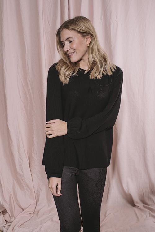 Ella&il Susanne Merino Sweater Black genser